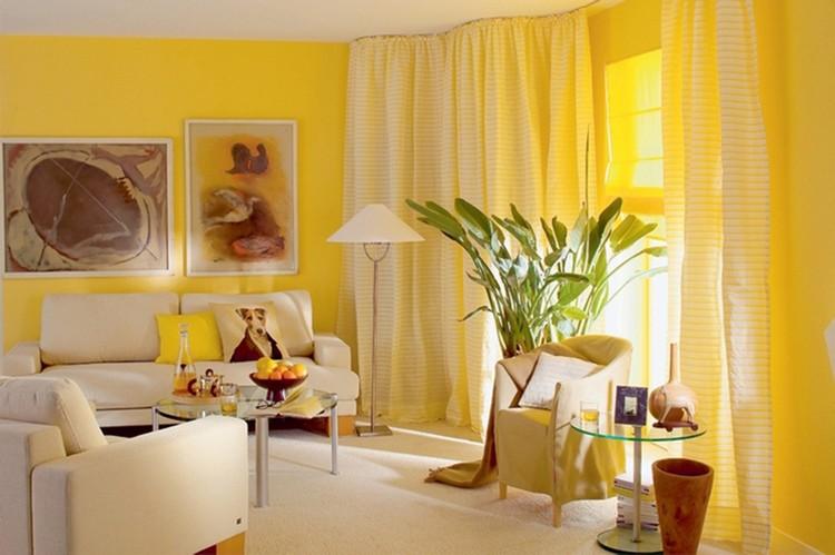 Желтый цвет в гостиной — лето круглый год (37 фото)