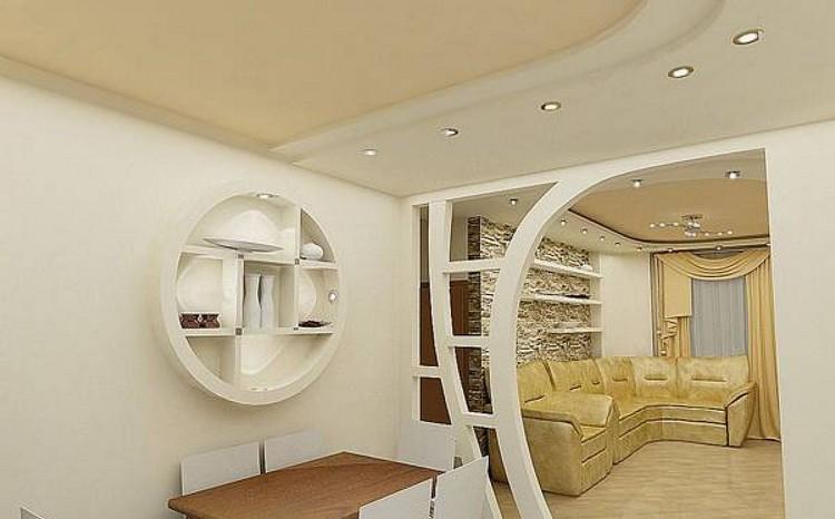 Идеи использования гипсокартона в интерьере гостиной: для отделки и не только (35 фото)
