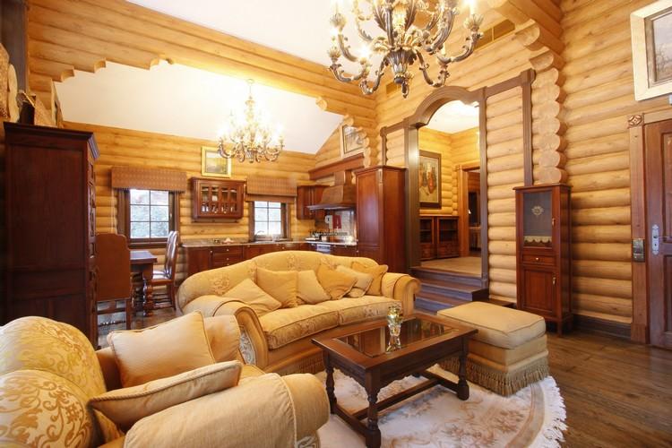 Отделка стен деревом и деревянными панелями в гостиной (43 фото)