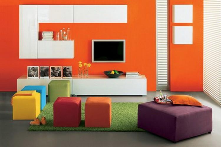 Оранжевый цвет в интерьере гостиной: как создать летнее апельсиновое настроение своими руками (80 фото)