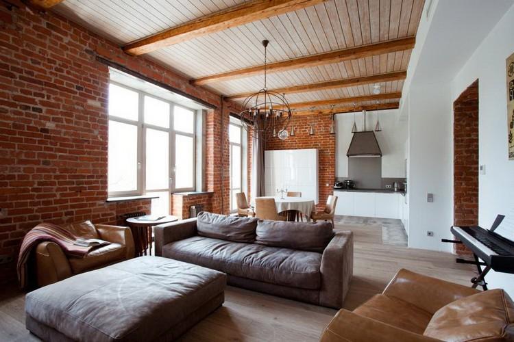 Фотогалерея: Особенности индустриального стиля лофт в интерьере гостиной (51 фото)