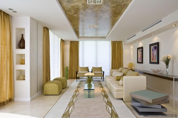 Дизайн потолка, пола и интерьера в желто-зелено-белых тонах