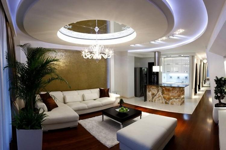 Подсветка потолка по кругу с использованием гипсокартона